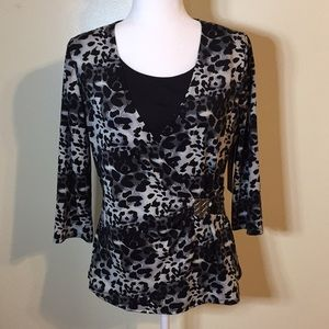 Notations Animal Print Top with Metal Waist Detail